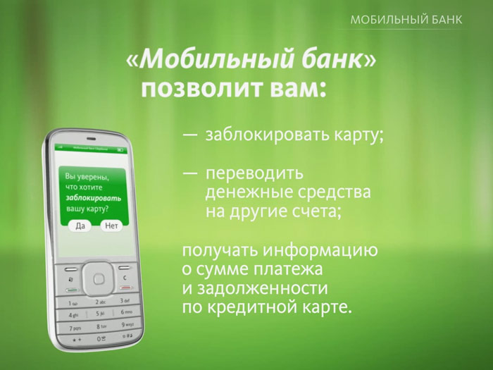 Функции услуги Мобильный банк