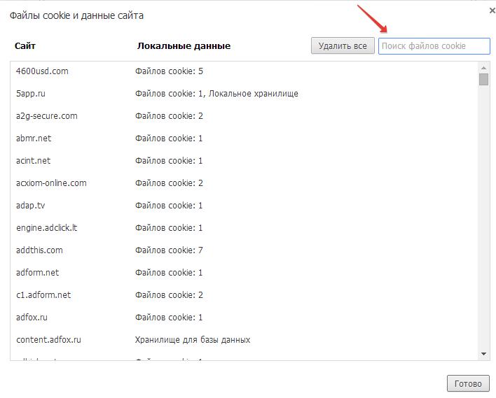 Файлы сookie Google Chrome