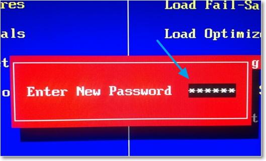 Установить пароль BIOS
