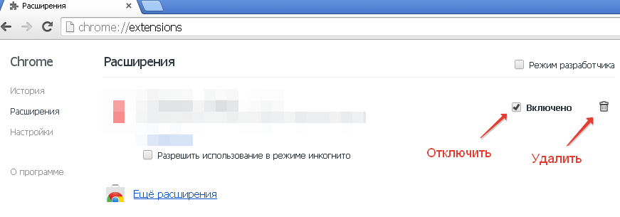 Убрать расширение из Chrome