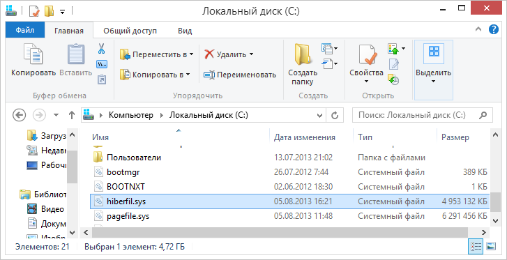 hiberfil.sys на жестком диске