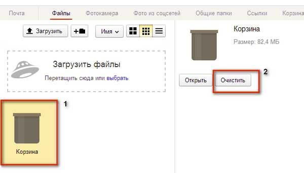 Очистка корзины Яндекс Диск
