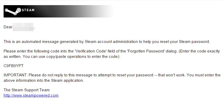 Письмо Steam Support