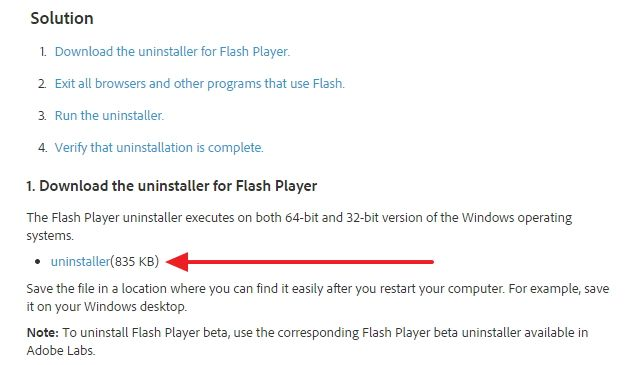 Файл деинсталляции flash player