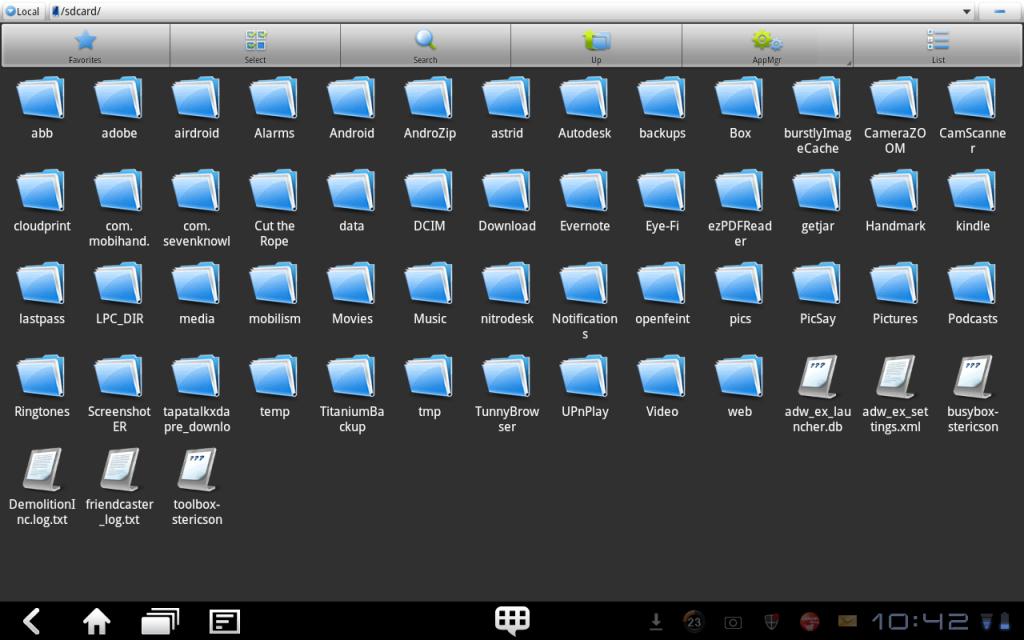 Работа с файловым менеджером