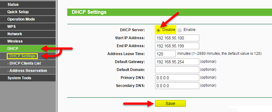 Отключить DHCP