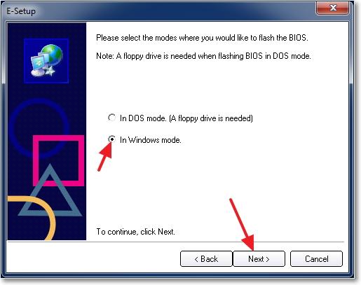 In Windows mode